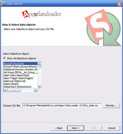 Image of Data Loader step 2, select Salesforce object.