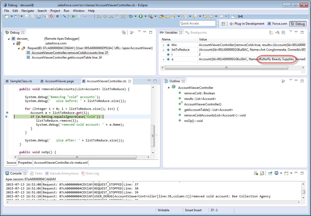 Debug the Problem   Force.com IDE Developer Guide   Salesforce Developers