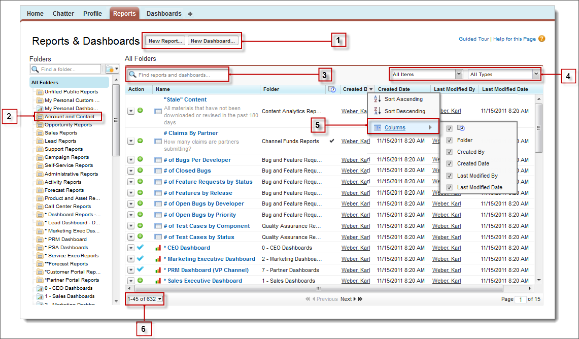 Reports Tab Using The Reports Tab Salesforce Developers