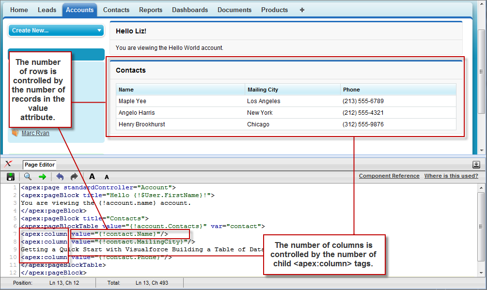Building a Table of Data in a Page | Visualforce Developer