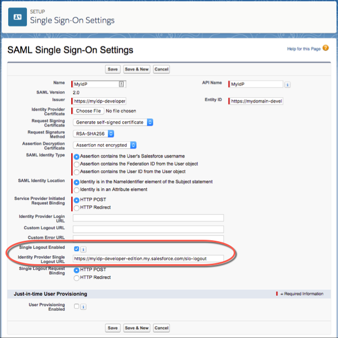 Configure SAML Settings for Single Logout When Salesforce Is