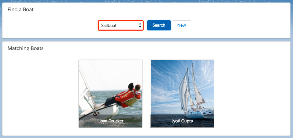 search form with sailboat selected, showing only sailboats in search result