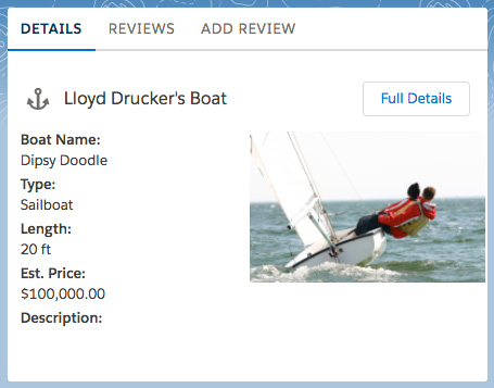Boat Details are displayed as one tab on a card