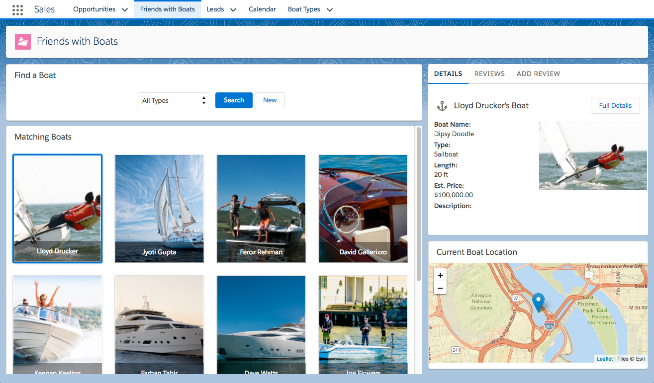a page that displays a grid of boats and information about the selected boat