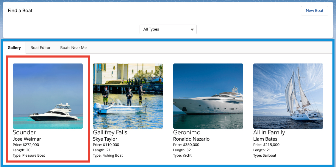 The image shows the form, with the select boat type being Jet Ski, and the gallery showing four tiles, each one with a different jet ski record. The first tile on the gallery is selected. The active tab is Gallery.