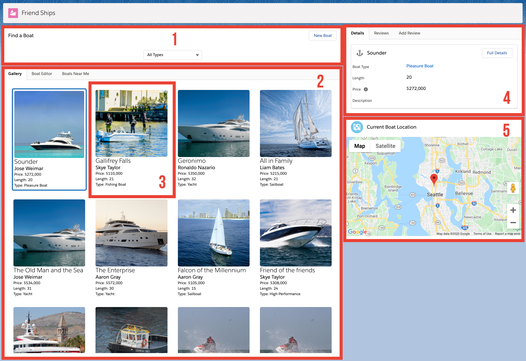 Main screen, divided into five different sections. 1. Find a Boat. 2. Search Results. 3. Boat Tile. 4. Record details plus reviews. 5. Current boat location.