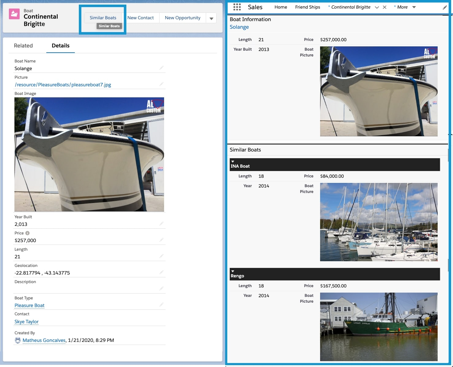 On the left, the Boat__c record page showing the Similar Boats button, that is placed on the upper right side of the screen. On the right, the Visualforce page SimilarBoats details about a Boat, and right below it, a list of similar boats, using the SimilarBoatsComponent.