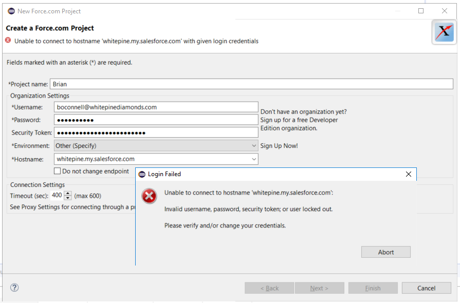 Cannot log into Eclipse IDE with custom domain - Salesforce
