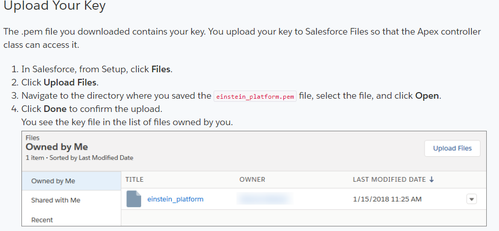 How to upload a key for using the Einstein Platform