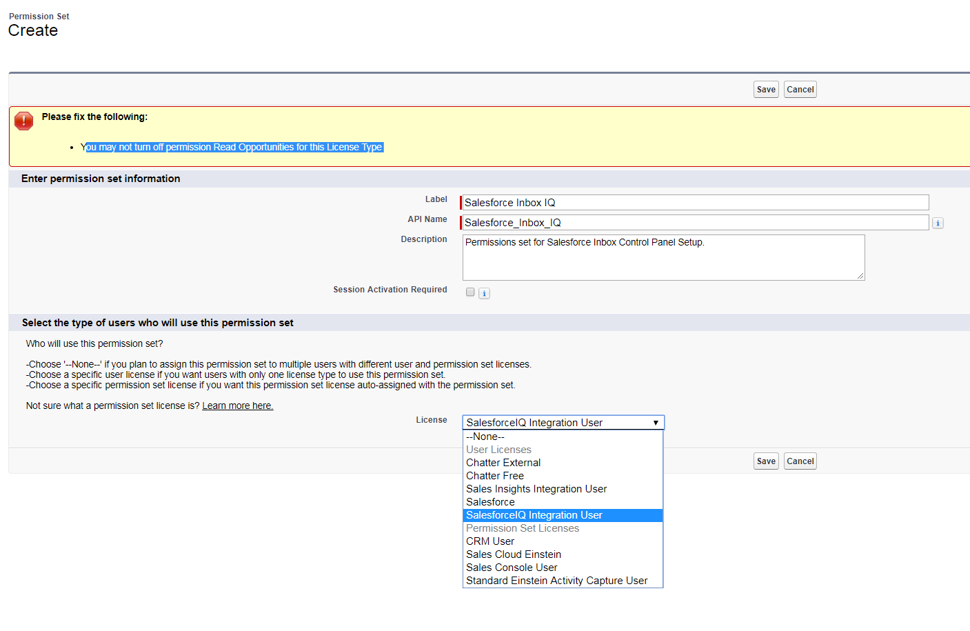 cannot create permissions set for salesforce inbox - Salesforce