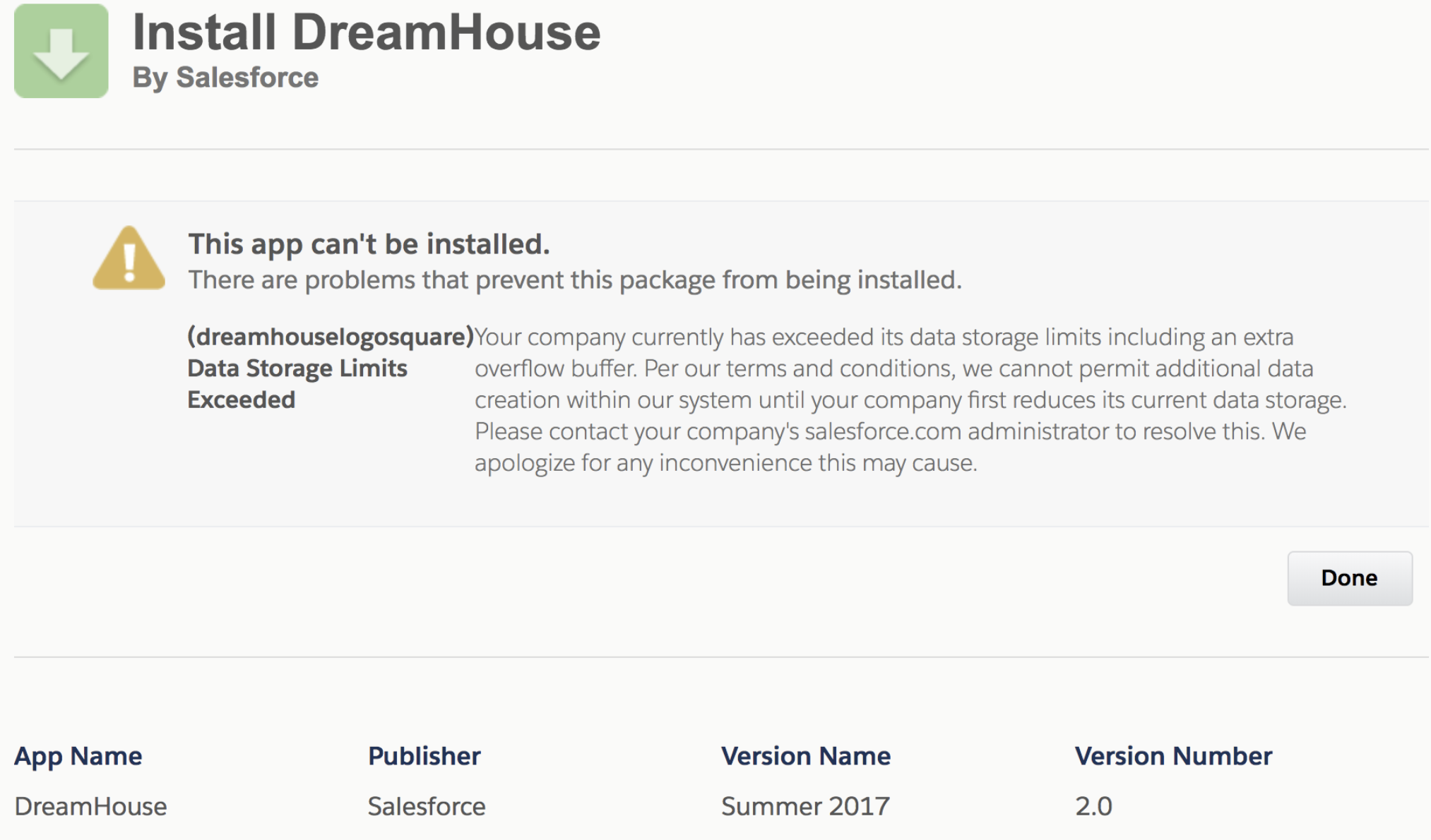 Blocked in Trailhead- Dreamhouse app install in playground