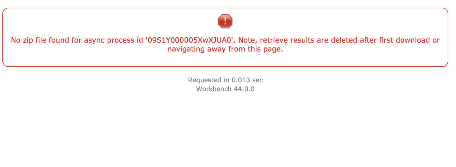 Metadata backup via Workbench no longer working - Salesforce