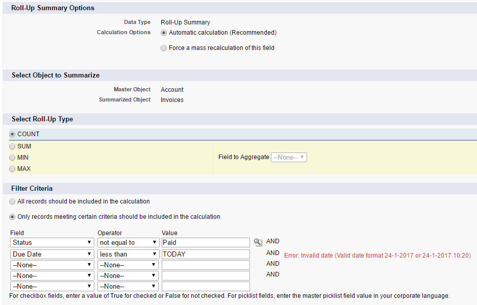 Roll-Up summary with condition on date field - Salesforce