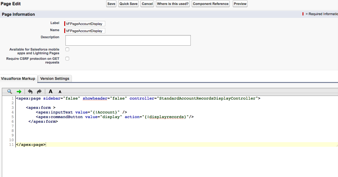 Display Standard Account Object Records On Vf Page Salesforce