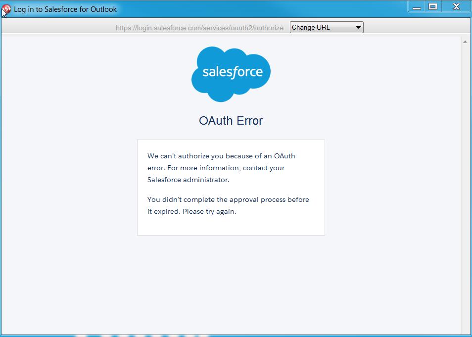 Salesforce for outlook OAuth error - Salesforce Developer
