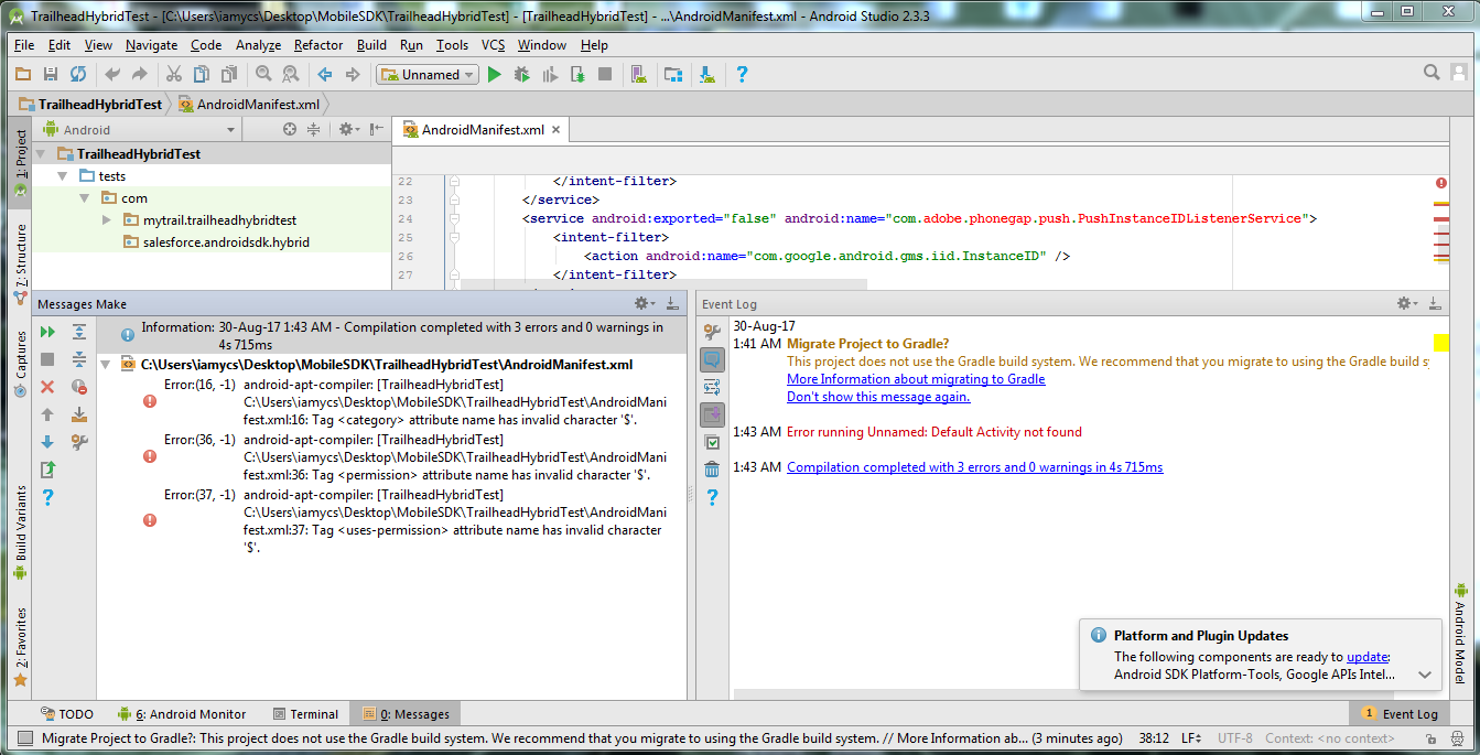 HTML5 & Hybrid Step-I issue building project in Android