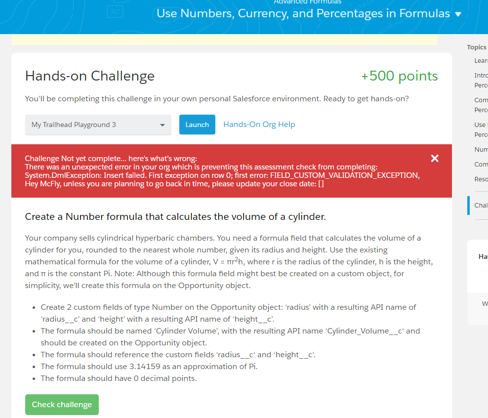 Salesforce Advanced admin challenge error