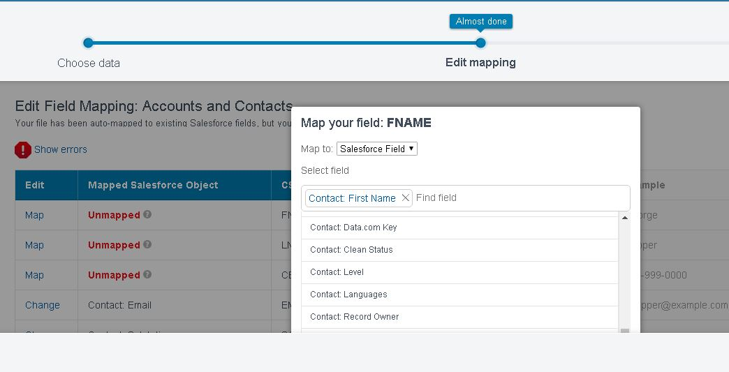 Cant Map In Trailhead Data Import Wizard Salesforce Developer