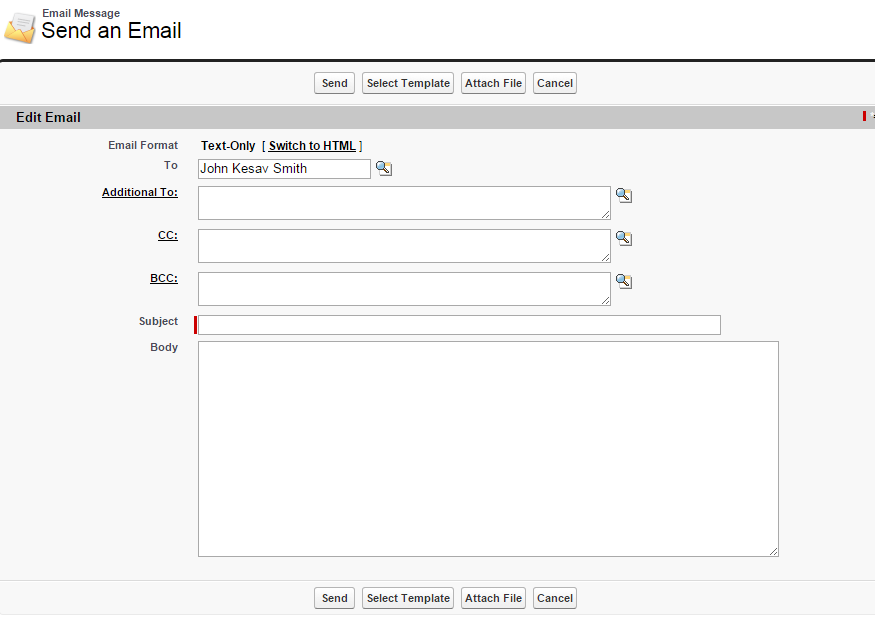 Auto Populate To Field On Send An Email Page When A Particular