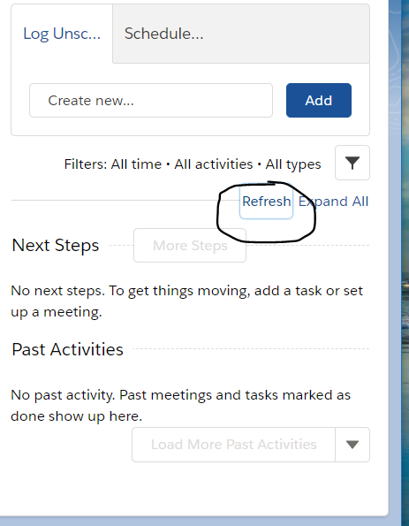 Auto Refresh the timeline activity from the lightning component with