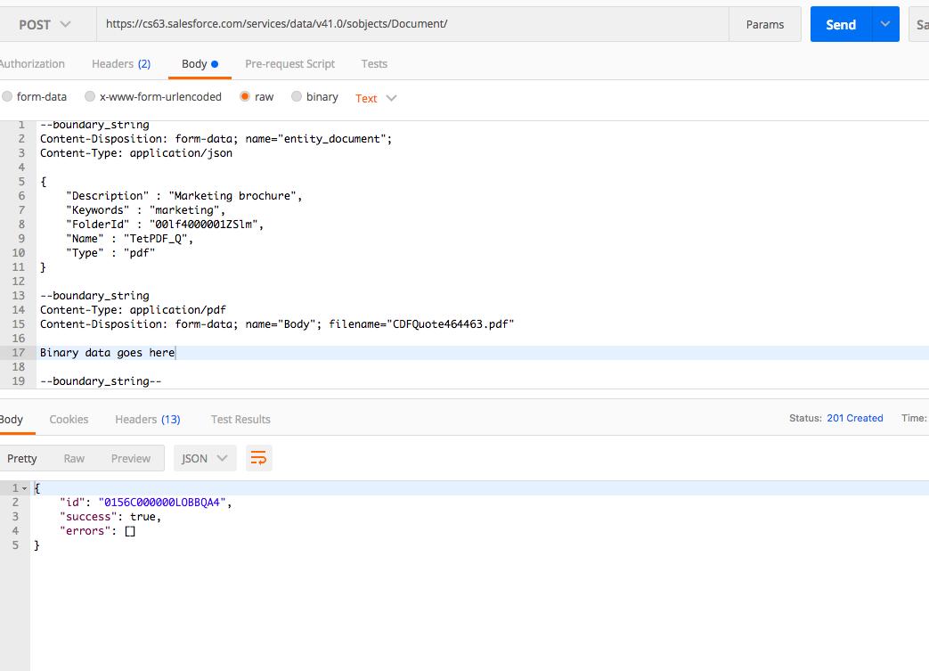 REST API to insert pdf Document - Salesforce Developer Community