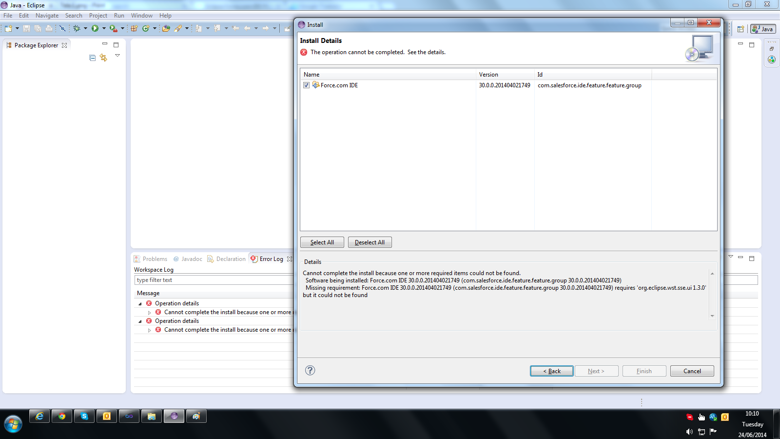Eclipse Force com IDE Plugin Install Error (Eclipse 4 3