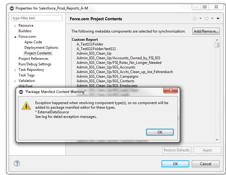 Eclipse error - Package Manifest Content Warning