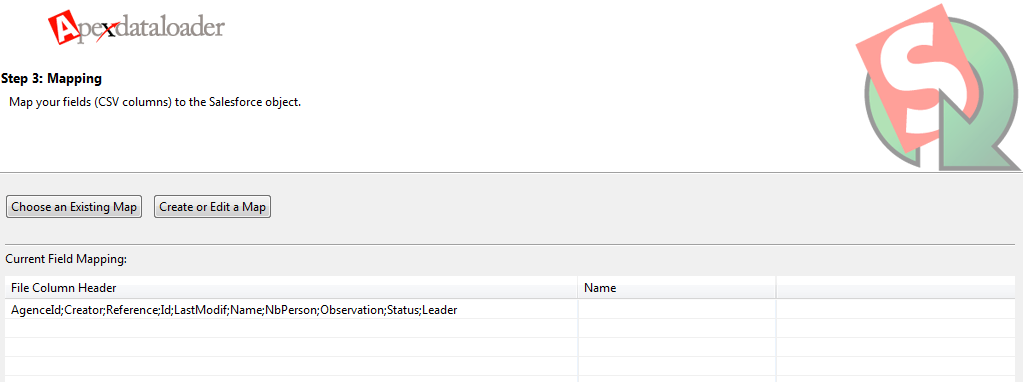 Mapping problem with file column header (file CSV) in data loader