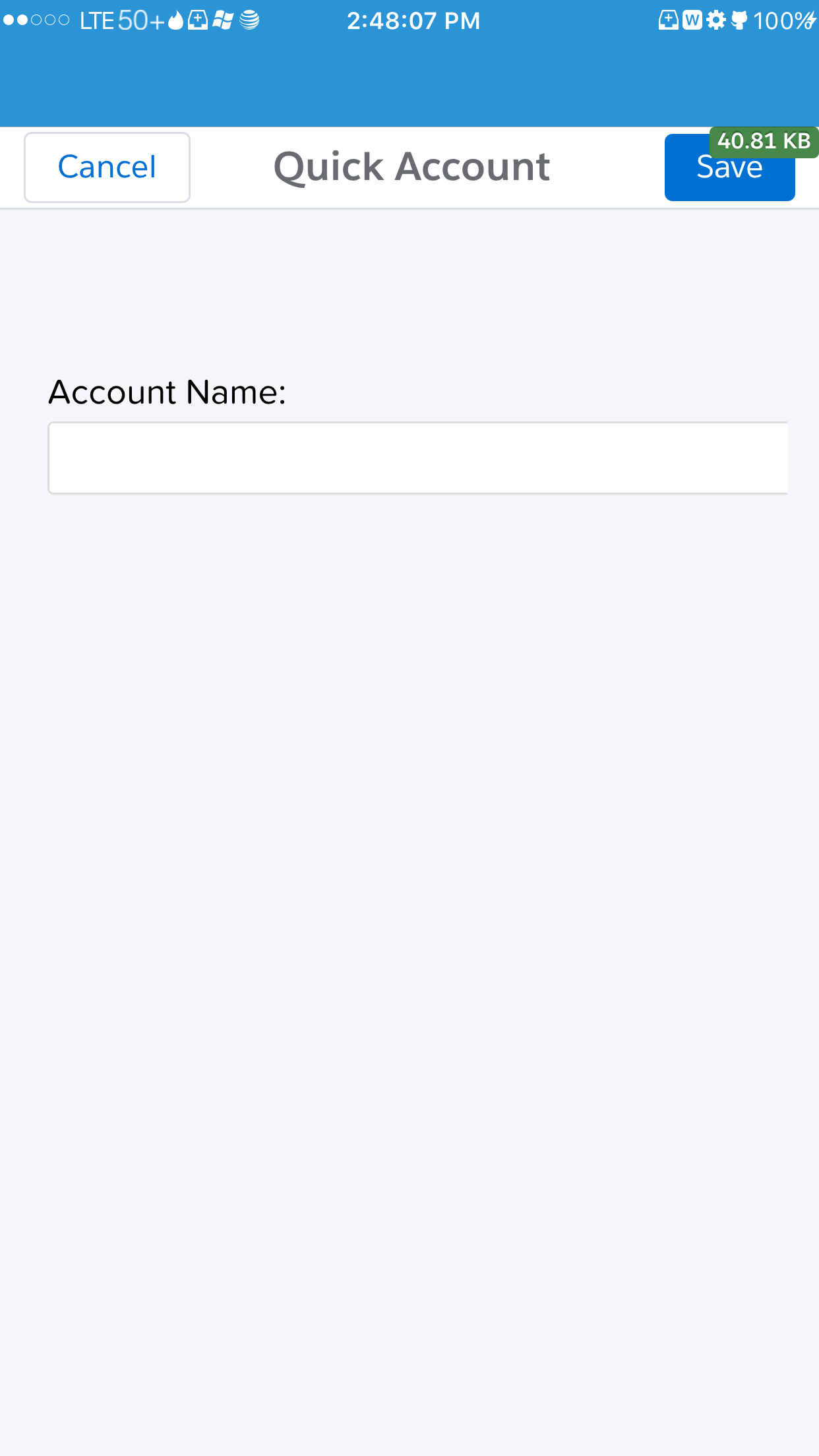 Screenshot of Salesforce 1 Quick Action