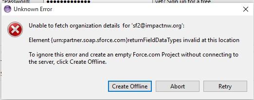 Eclipse IDE - Element {urn:partner soap sforce com}return