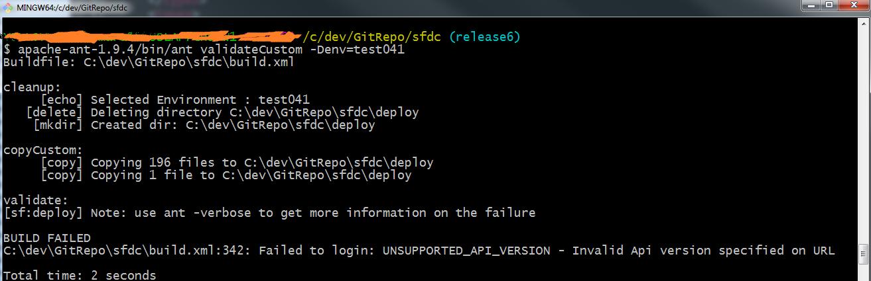 Failed to login: UNSUPPORTED_API_VERSION - Invalid Api