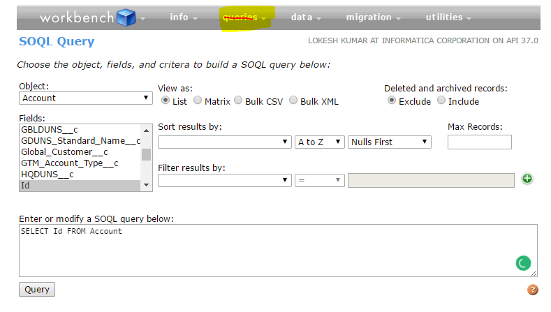 How to extract objects from workbench ? - Salesforce