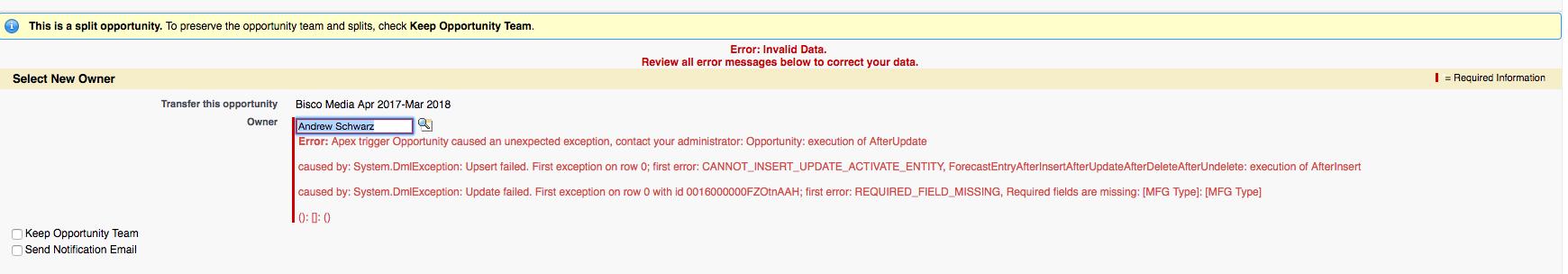 Need help with Apex error happening when updating