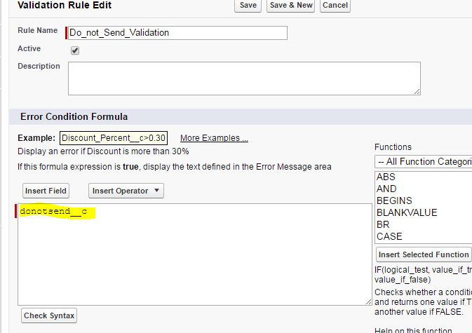 Validation Rule to stop users from saving a checkbox