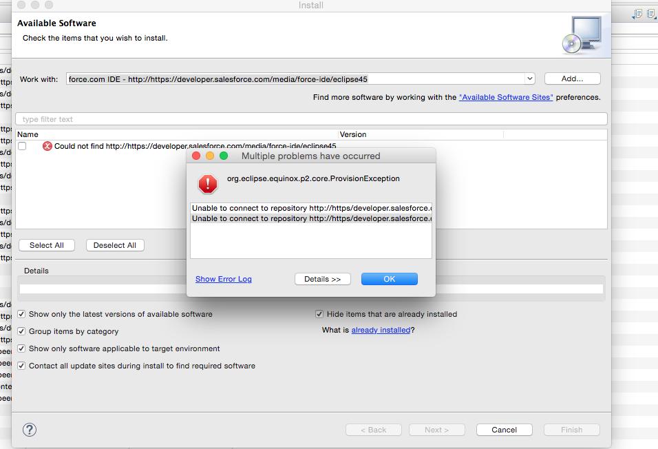 Eclipse Force com IDE Plugin Install Error - Salesforce