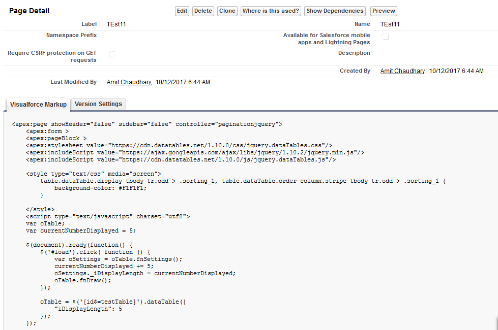 how to seach in the datatable on the visualfroce page