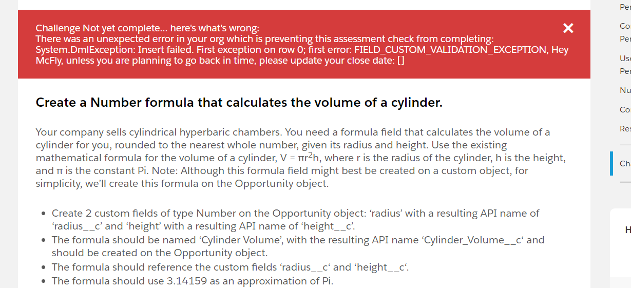 Create a Number formula that calculates the volume of a cylinder