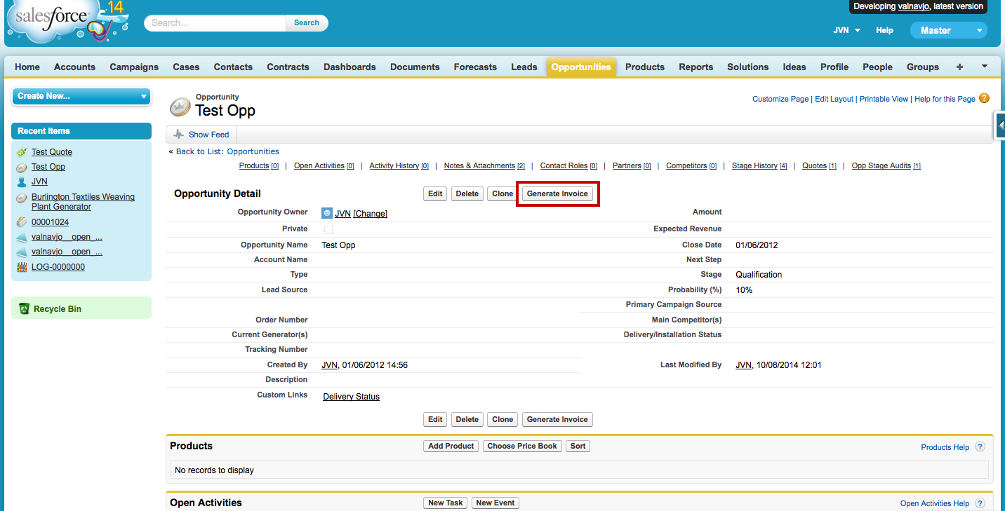 Steps To Generate A Custom Quoteinvoice Pdf Salesforce Developer - Salesforce invoicing app