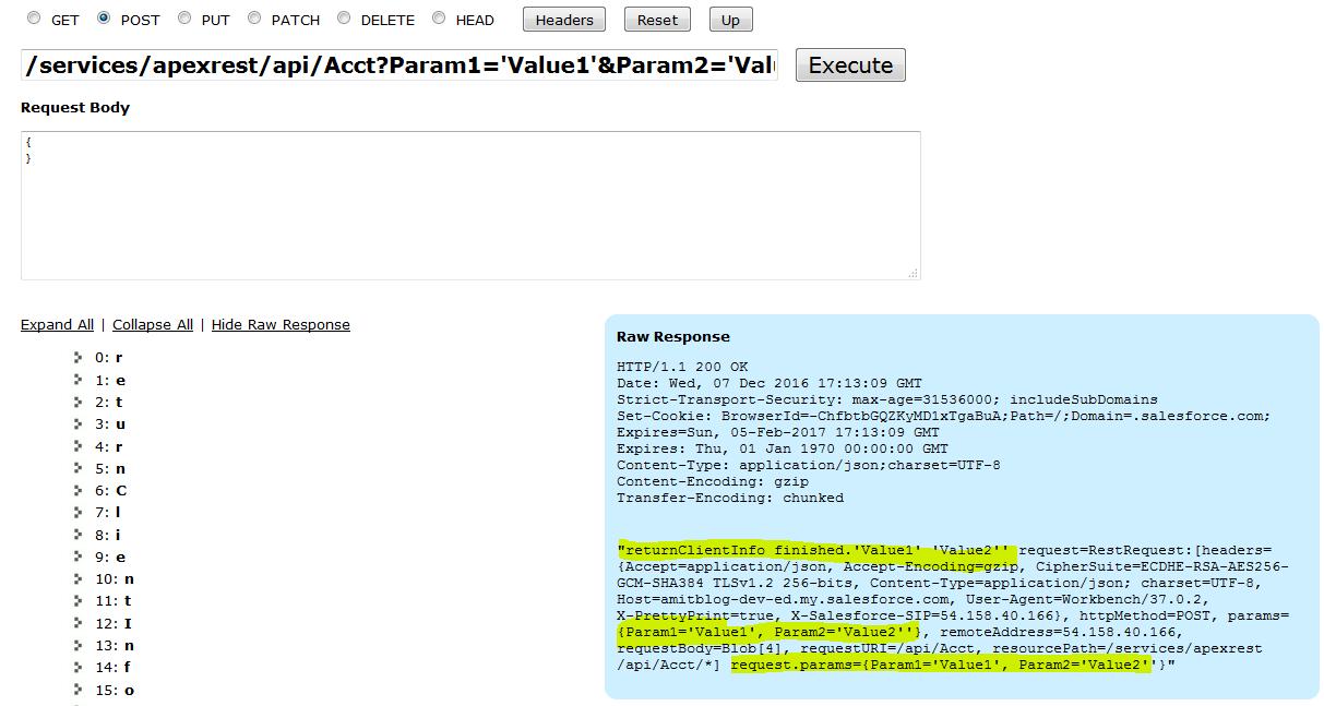 Passing POST parameters in Workbench - Salesforce Developer Community