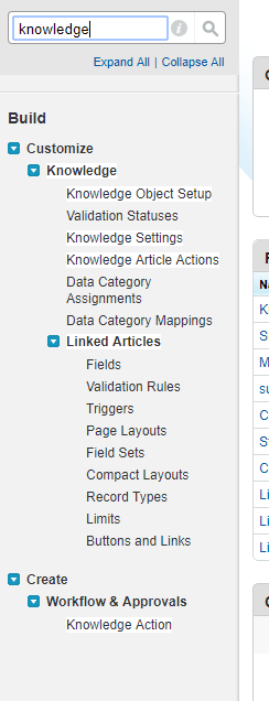 "keyword search ""knowledge"" in quick search"