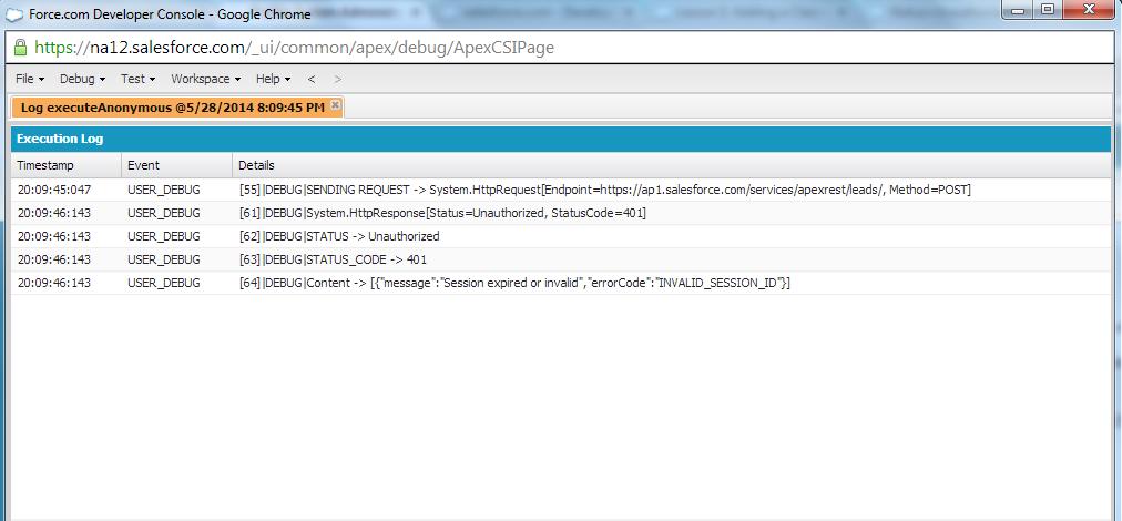 Status=Unauthorized, StatusCode=401 - Salesforce Developer