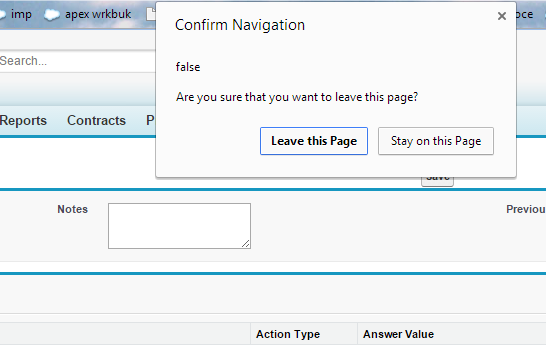 Show javascript popup when user navigates away from page for Window onbeforeunload