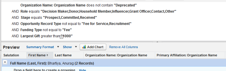 Report filter on main object and on the same object but via a Lookup in the report type