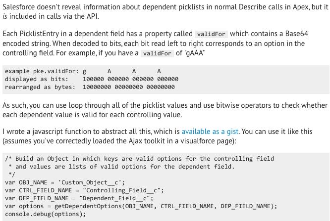Apex dependent picklist - Salesforce Developer Community