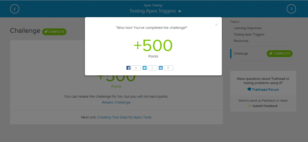 Trailhead: Coverage 100% but challenge failed - Salesforce Developer