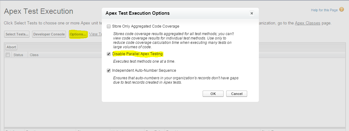 Getting 'Unable to LOCK Row' error when executing all test classes