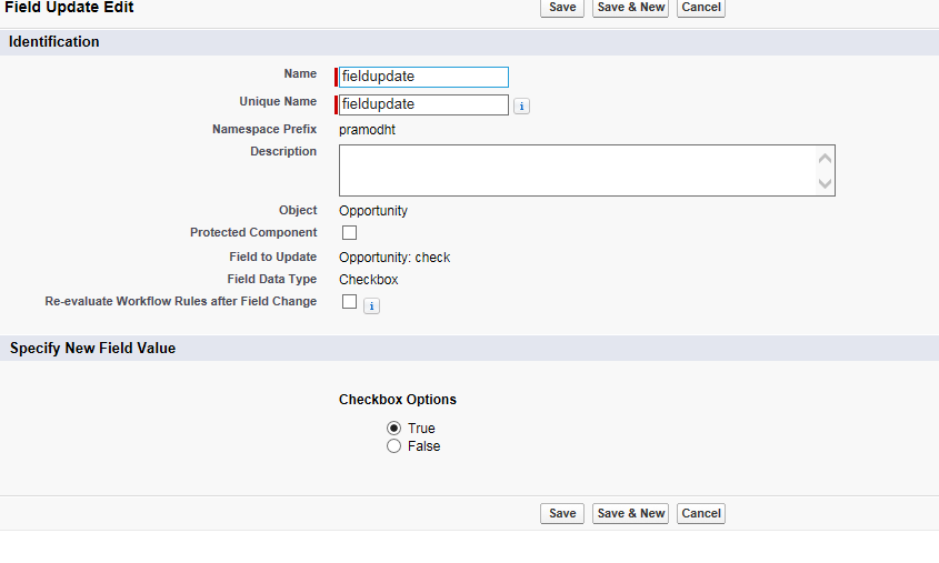 Automatically Check a checkbox on opportunity only when an