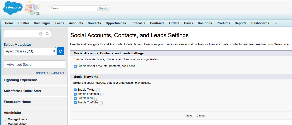 Enable Social Media on SalesForce